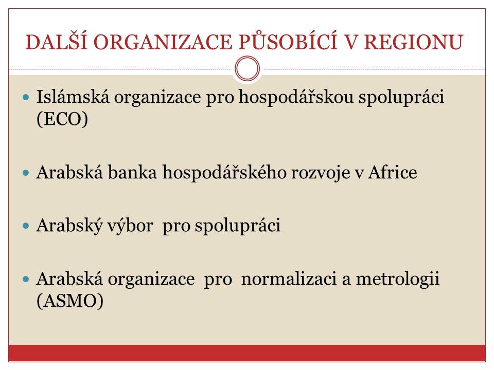 DALŠÍ ORGANIZACE PŮSOBÍCÍ V REGIONU Islámská organizace pro hospodářskou spolupráci (ECO) Arabská banka hospodářského rozvoje v Africe Arabský výbor p