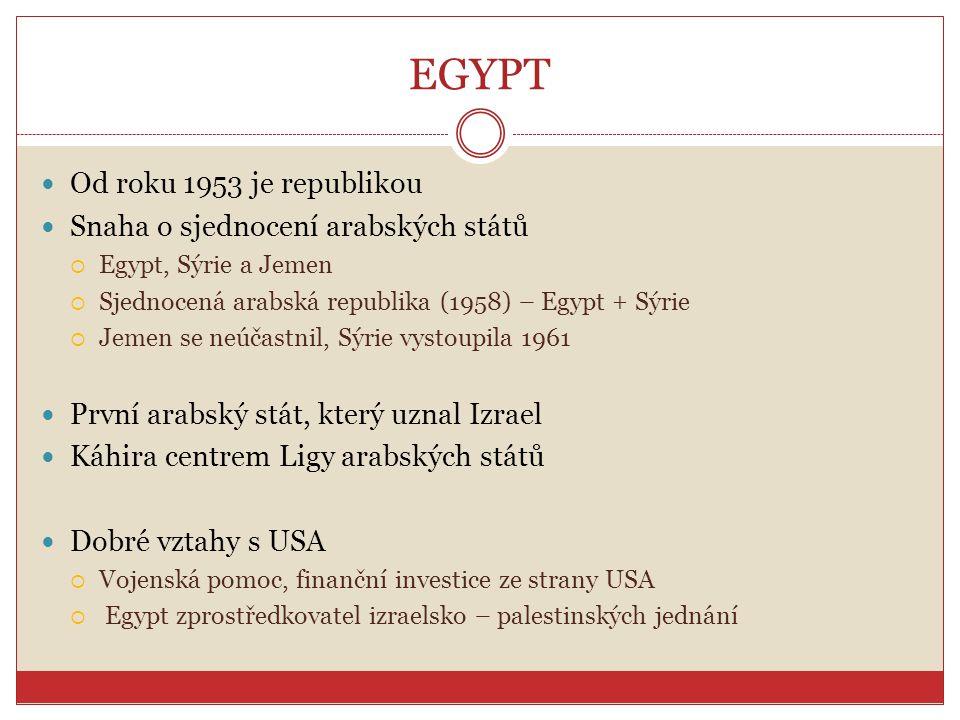 ARABSKÉ JARO V EGYPTĚ V únoru 2011 po ohromných protestech odstoupil prezident Mubarak Důvody protestů:  potlačování svobody slova, chudoba, korupce, nezaměstnanost Zemi vede dočasně armáda Proběhly parlamentní volby – vítězství muslimského bratrstva Připravují se prezidentské volby  Klíčové – Egypt je prezidentskou republikou Nejistý vývoj vztahů s Izraelem  Dobré vztahy s Izraelem Egyptu zajišťují podporu USA  Vypovězení mírové smlouvy by znamenalo ohrožení jižní hranice Izraele a pravděpodobně zastavilo tok americké podpory do země