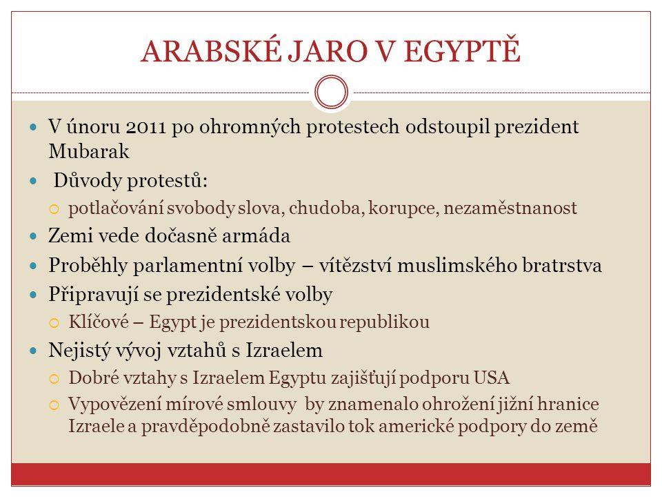 ARABSKÉ JARO V EGYPTĚ V únoru 2011 po ohromných protestech odstoupil prezident Mubarak Důvody protestů:  potlačování svobody slova, chudoba, korupce,