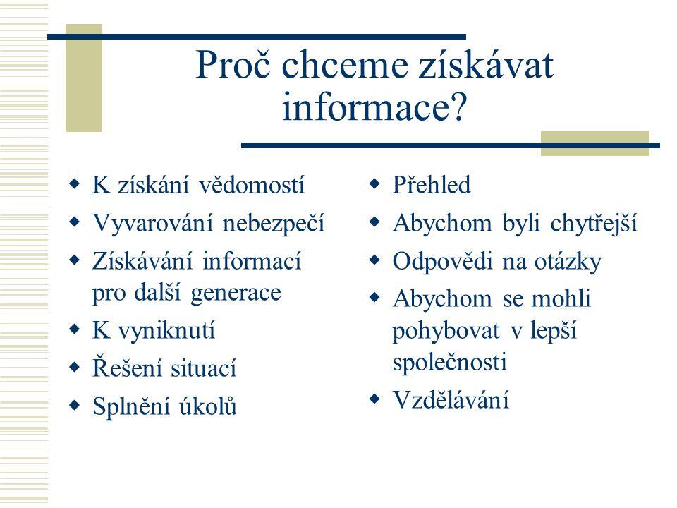 Proč chceme získávat informace.