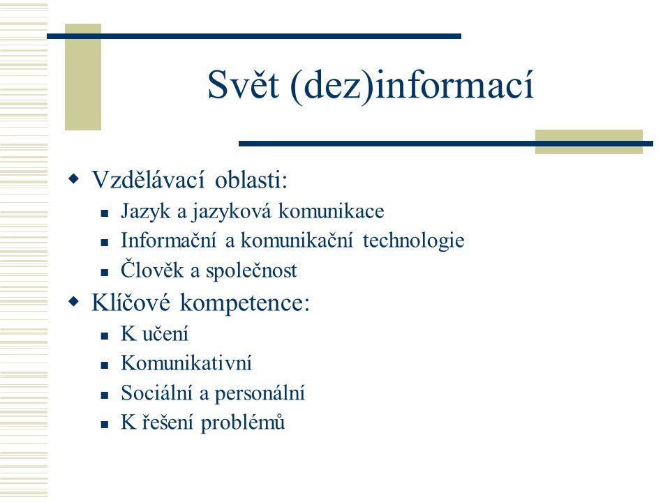 Svět (dez)informací  Vzdělávací oblasti: Jazyk a jazyková komunikace Informační a komunikační technologie Člověk a společnost  Klíčové kompetence: K učení Komunikativní Sociální a personální K řešení problémů