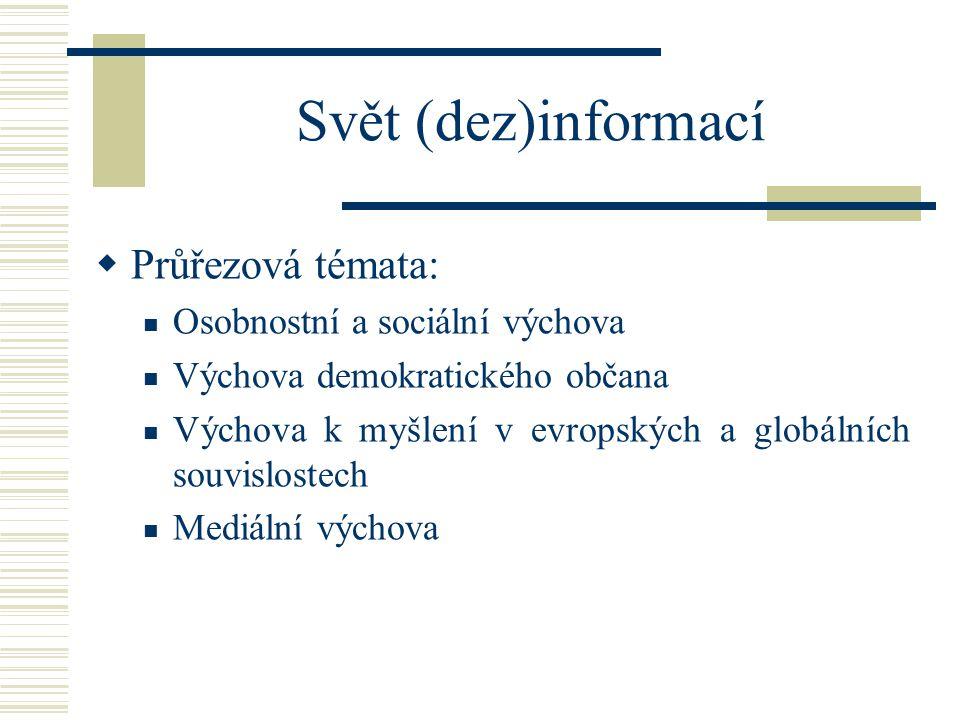 Svět (dez)informací  Průřezová témata: Osobnostní a sociální výchova Výchova demokratického občana Výchova k myšlení v evropských a globálních souvislostech Mediální výchova
