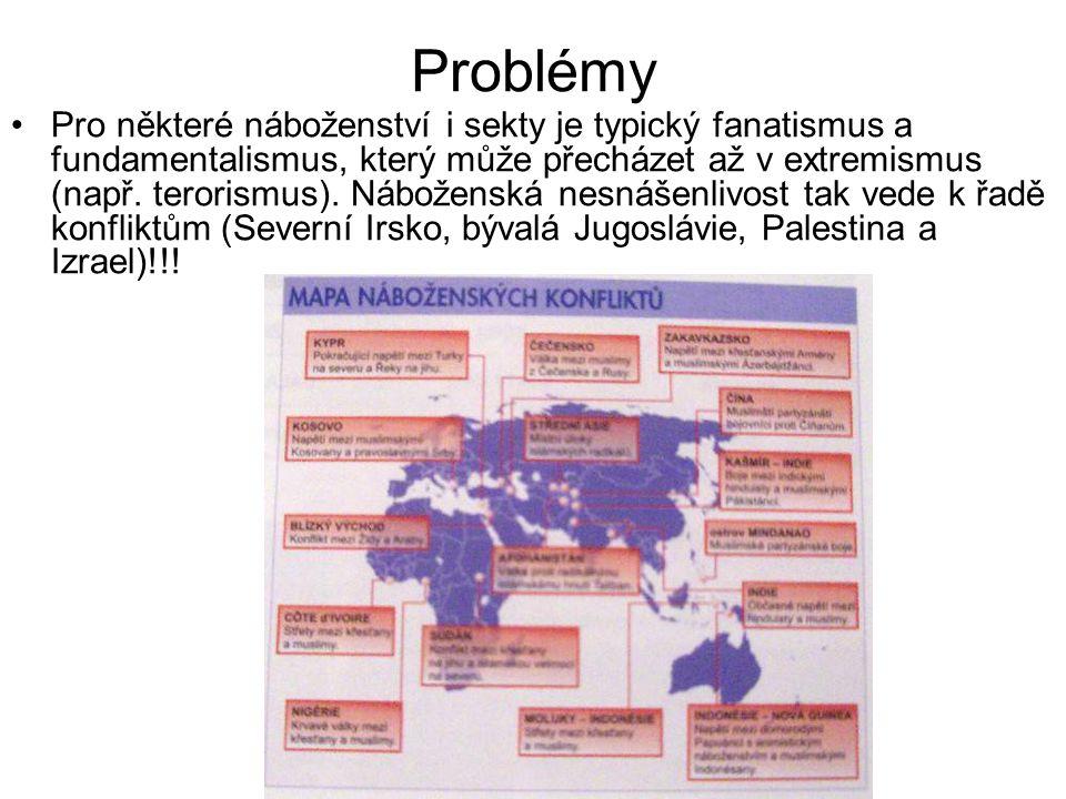 Problémy Pro některé náboženství i sekty je typický fanatismus a fundamentalismus, který může přecházet až v extremismus (např. terorismus). Nábožensk