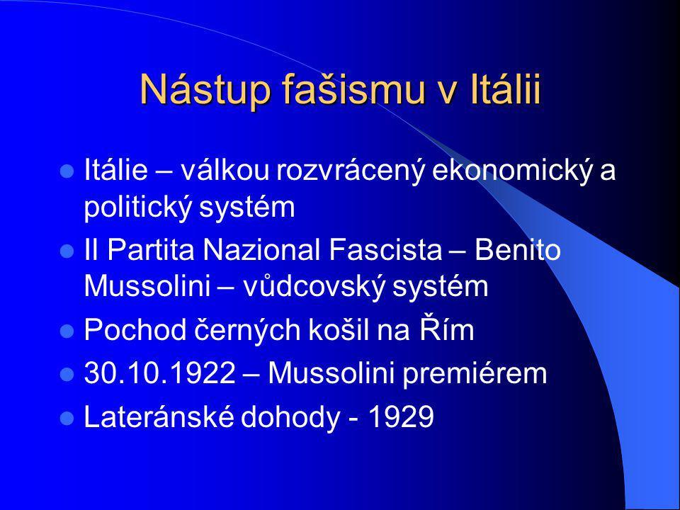 Nástup fašismu v Itálii Itálie – válkou rozvrácený ekonomický a politický systém Il Partita Nazional Fascista – Benito Mussolini – vůdcovský systém Po