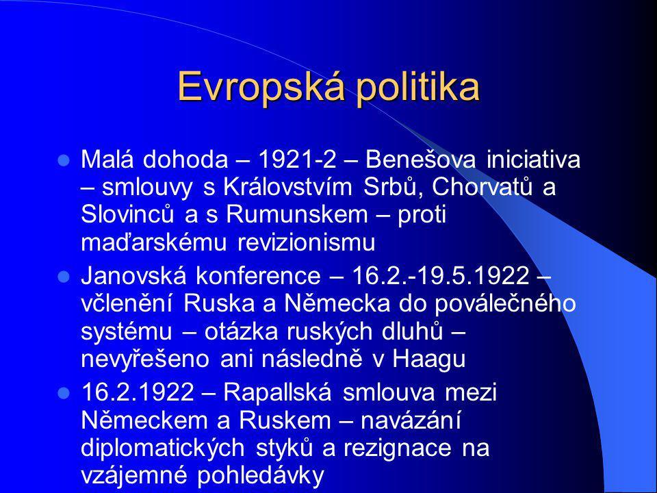 Evropská politika Malá dohoda – 1921-2 – Benešova iniciativa – smlouvy s Královstvím Srbů, Chorvatů a Slovinců a s Rumunskem – proti maďarskému revizi