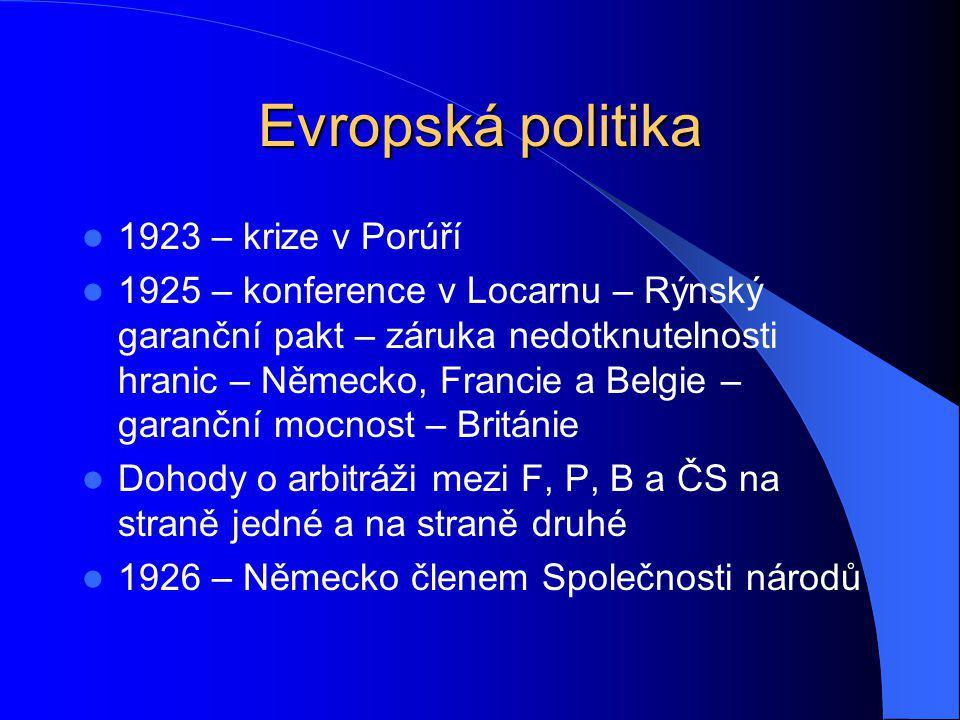 Evropská politika 1923 – krize v Porúří 1925 – konference v Locarnu – Rýnský garanční pakt – záruka nedotknutelnosti hranic – Německo, Francie a Belgi