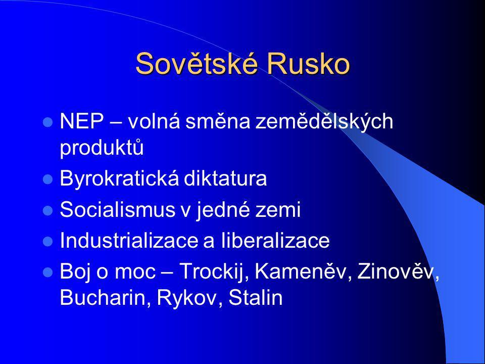 Sovětské Rusko NEP – volná směna zemědělských produktů Byrokratická diktatura Socialismus v jedné zemi Industrializace a liberalizace Boj o moc – Troc