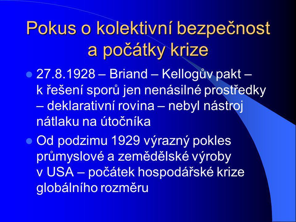 Pokus o kolektivní bezpečnost a počátky krize 27.8.1928 – Briand – Kellogův pakt – k řešení sporů jen nenásilné prostředky – deklarativní rovina – neb