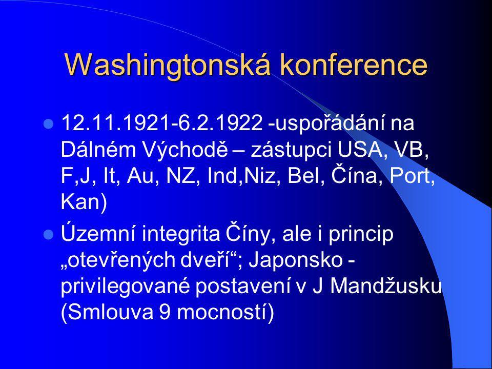 Washingtonská konference Zachování statu quo v ostrovních državách (Smlouva 4 mocností USA, VB, F,J) Stanovení vzájemného poměru námořních sil v Pacifiku (Smlouva 5 mocností – index USA a VB 5, Fa It 1,5,J 3)