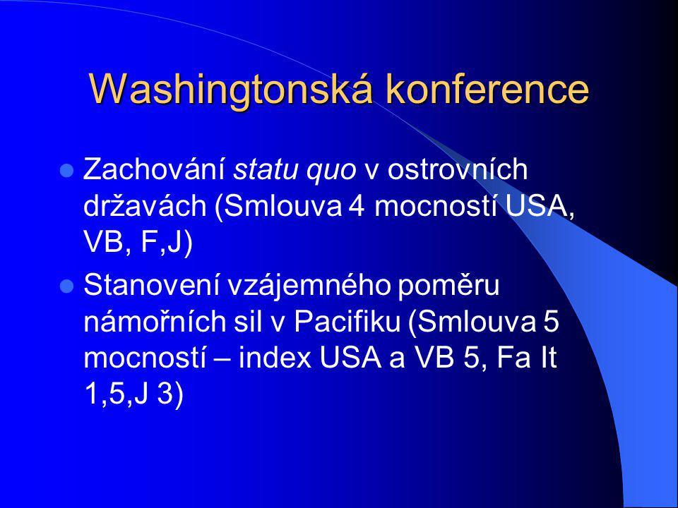Washingtonská konference Zachování statu quo v ostrovních državách (Smlouva 4 mocností USA, VB, F,J) Stanovení vzájemného poměru námořních sil v Pacif