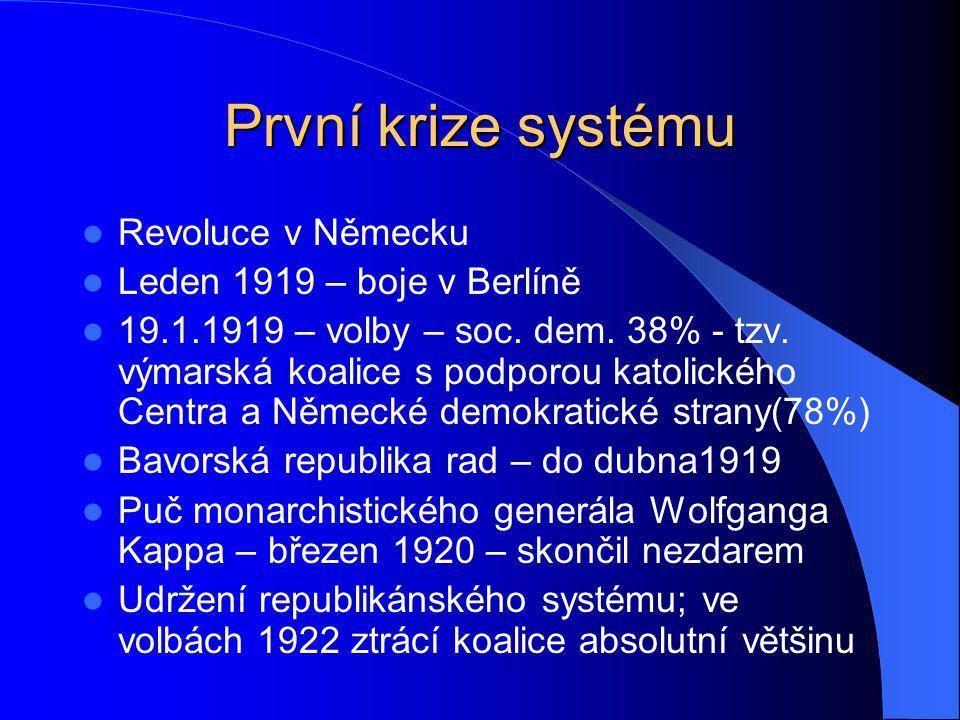 První krize systému Revoluce v Německu Leden 1919 – boje v Berlíně 19.1.1919 – volby – soc. dem. 38% - tzv. výmarská koalice s podporou katolického Ce