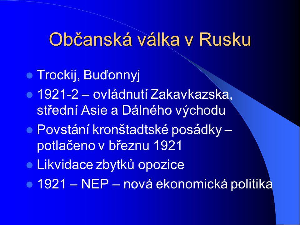 Polsko - sovětská válka 25.4.1920 – útok Poláků – obsazení Z Ukrajiny Protiofenzíva bolševiků Zprostředkovatelská mise lorda George Curzona – Curzonova linie – etnický princip18.3.1921 – Riga – mírová smlouva – Z Ukrajina a Z Bělorusko součástí Polska