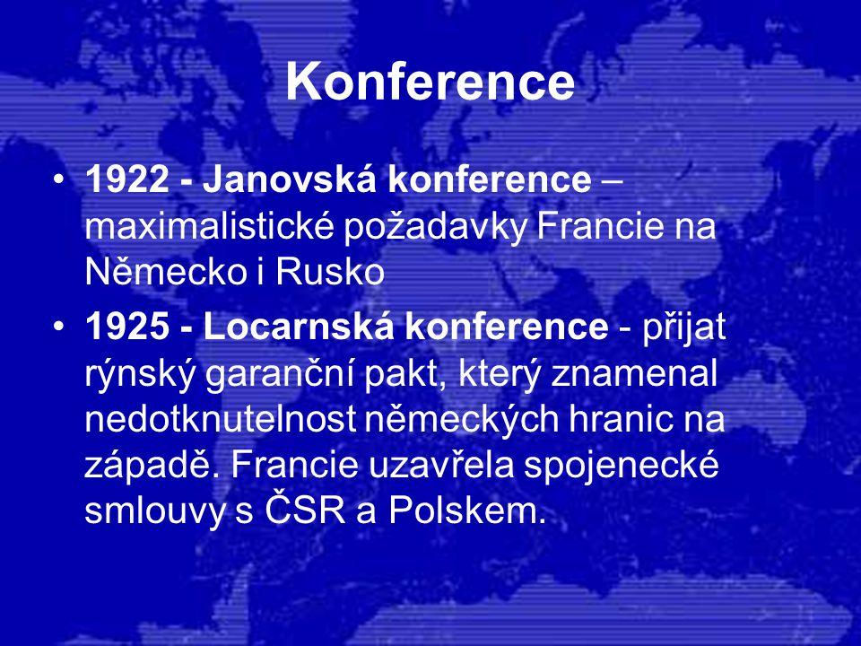 Konference 1922 - Janovská konference – maximalistické požadavky Francie na Německo i Rusko 1925 - Locarnská konference - přijat rýnský garanční pakt,