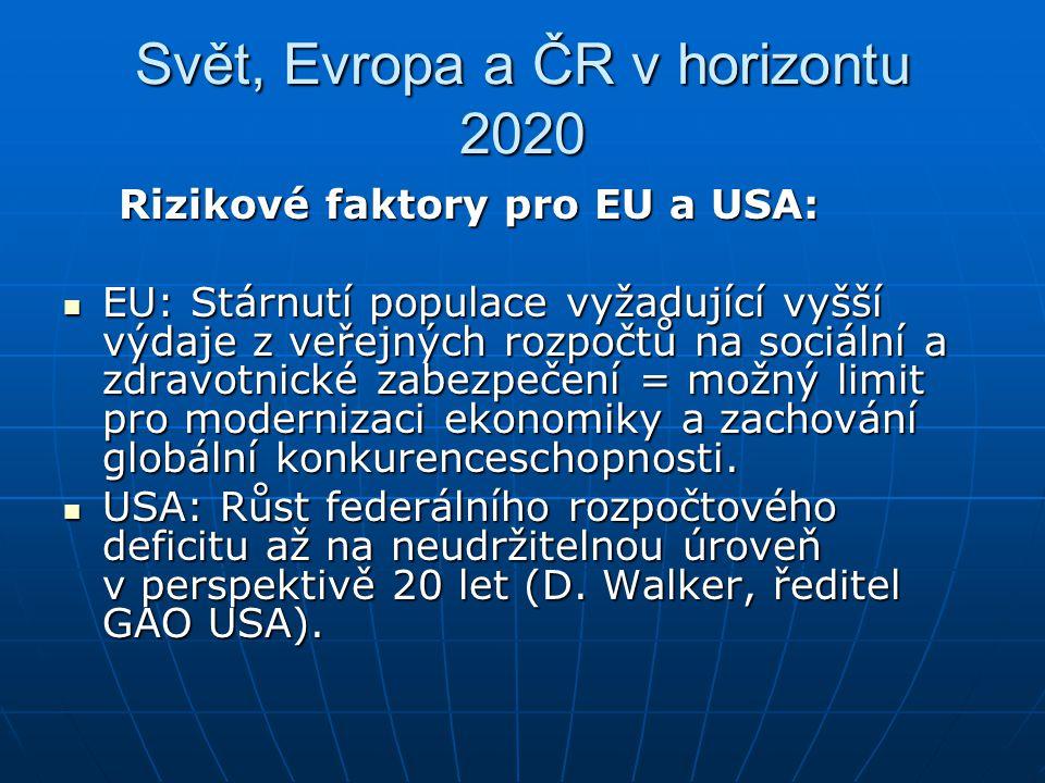Svět, Evropa a ČR v horizontu 2020 Rizikové faktory pro EU a USA: Rizikové faktory pro EU a USA: EU: Stárnutí populace vyžadující vyšší výdaje z veřej