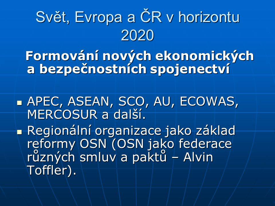Svět, Evropa a ČR v horizontu 2020 Formování nových ekonomických a bezpečnostních spojenectví Formování nových ekonomických a bezpečnostních spojenect