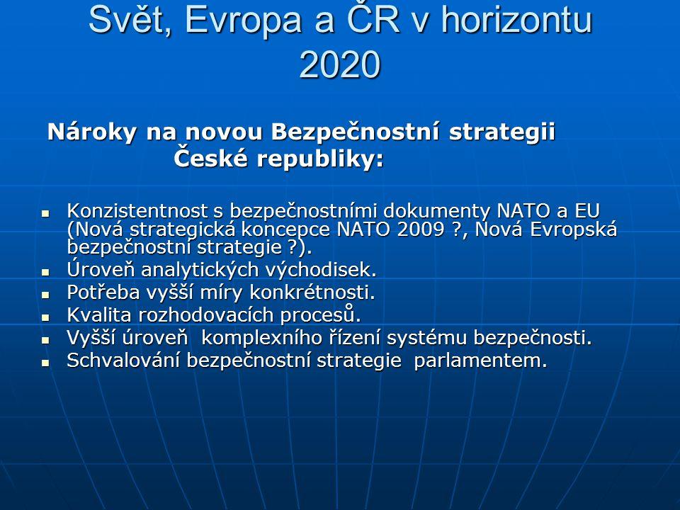 Svět, Evropa a ČR v horizontu 2020 Nároky na novou Bezpečnostní strategii Nároky na novou Bezpečnostní strategii České republiky: České republiky: Kon