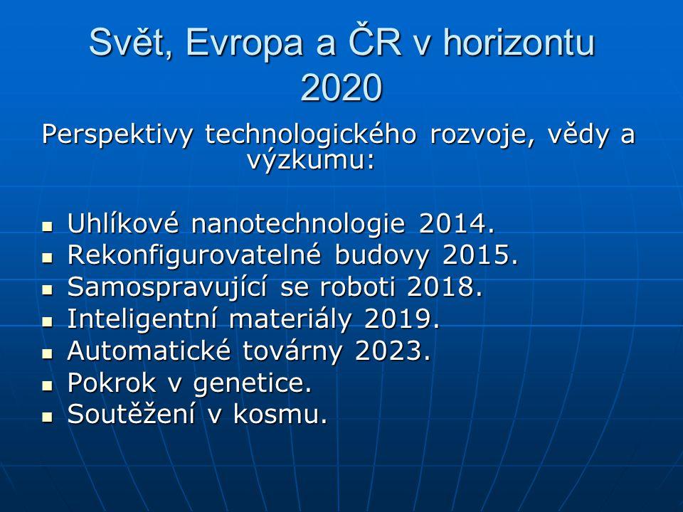 Svět, Evropa a ČR v horizontu 2020 Perspektivy technologického rozvoje, vědy a výzkumu: Uhlíkové nanotechnologie 2014. Uhlíkové nanotechnologie 2014.