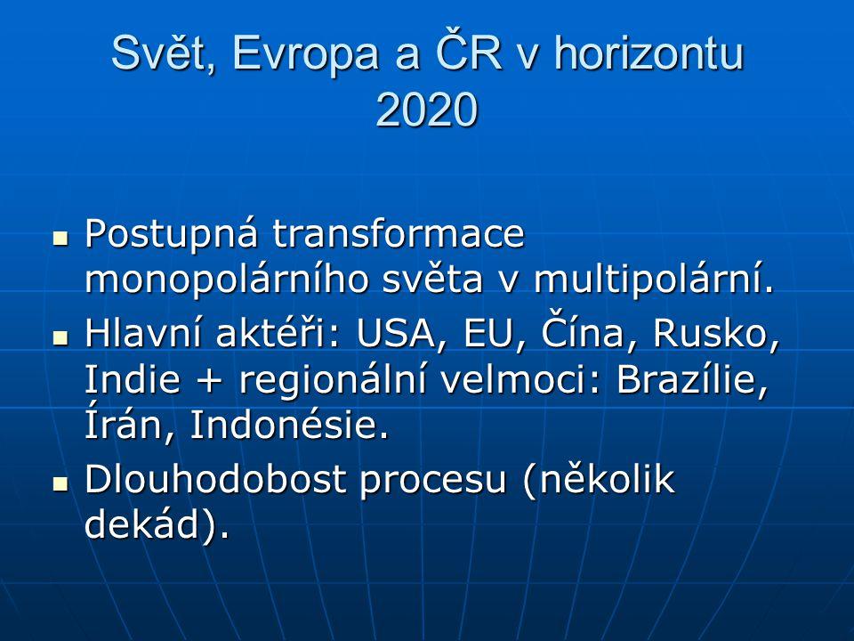 Svět, Evropa a ČR v horizontu 2020 Postupná transformace monopolárního světa v multipolární. Postupná transformace monopolárního světa v multipolární.