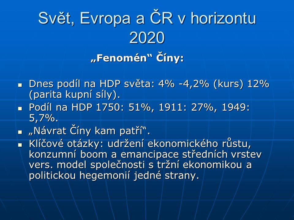 """Svět, Evropa a ČR v horizontu 2020 """"Fenomén"""" Číny: """"Fenomén"""" Číny: Dnes podíl na HDP světa: 4% -4,2% (kurs) 12% (parita kupní síly). Dnes podíl na HDP"""