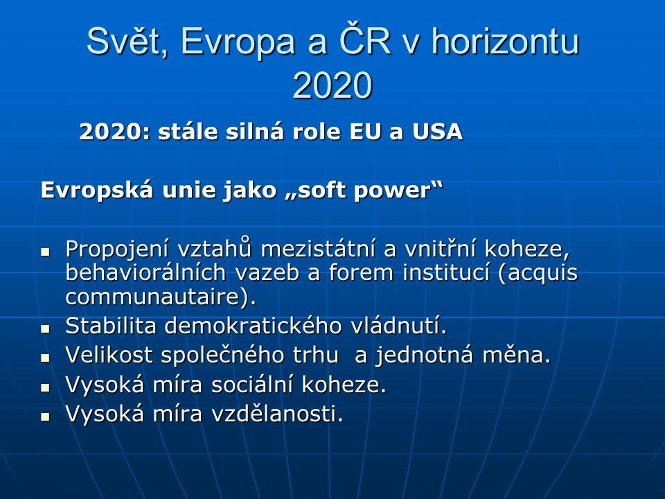 """Svět, Evropa a ČR v horizontu 2020 2020: stále silná role EU a USA 2020: stále silná role EU a USA Evropská unie jako """"soft power"""" Propojení vztahů me"""