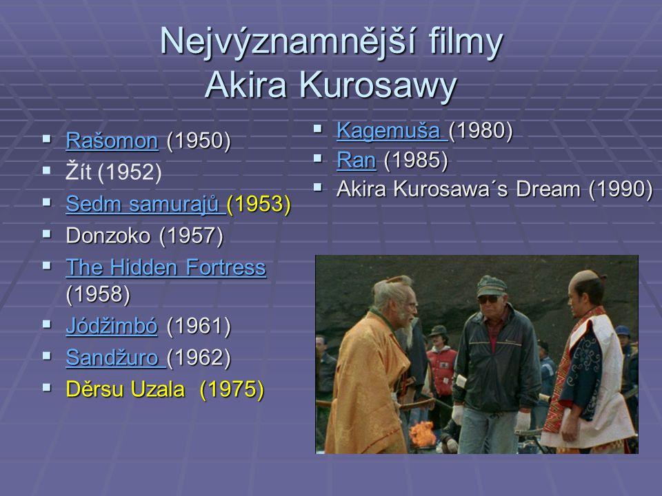 Nejvýznamnější filmy Akira Kurosawy  Rašomon (1950) Rašomon   Žít (1952)  Sedm samurajů (1953) Sedm samurajů Sedm samurajů  Donzoko (1957)  The Hidden Fortress (1958) The Hidden Fortress The Hidden Fortress  Jódžimbó (1961) Jódžimbó  Sandžuro (1962) Sandžuro  Děrsu Uzala (1975)  Kagemuša (1980) Kagemuša  Ran (1985) Ran  Akira Kurosawa´s Dream (1990)