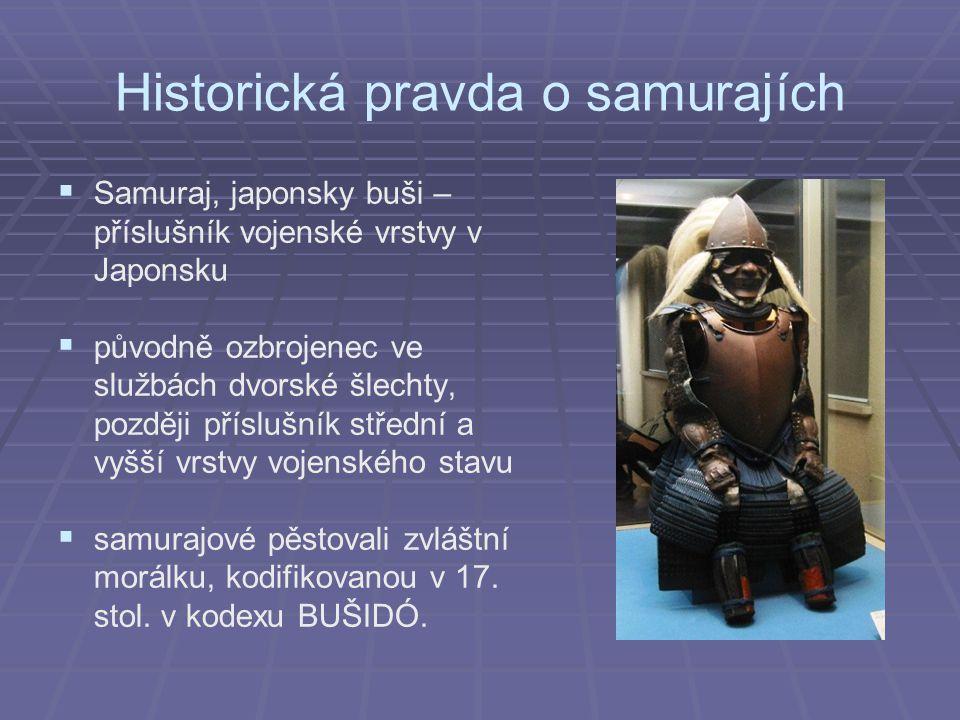Historická pravda o samurajích   Samuraj, japonsky buši – příslušník vojenské vrstvy v Japonsku   původně ozbrojenec ve službách dvorské šlechty, později příslušník střední a vyšší vrstvy vojenského stavu   samurajové pěstovali zvláštní morálku, kodifikovanou v 17.