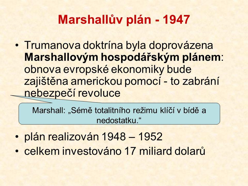 """Marshallův plán - 1947 Trumanova doktrína byla doprovázena Marshallovým hospodářským plánem: obnova evropské ekonomiky bude zajištěna americkou pomocí - to zabrání nebezpečí revoluce plán realizován 1948 – 1952 celkem investováno 17 miliard dolarů Marshall: """"Sémě totalitního režimu klíčí v bídě a nedostatku."""