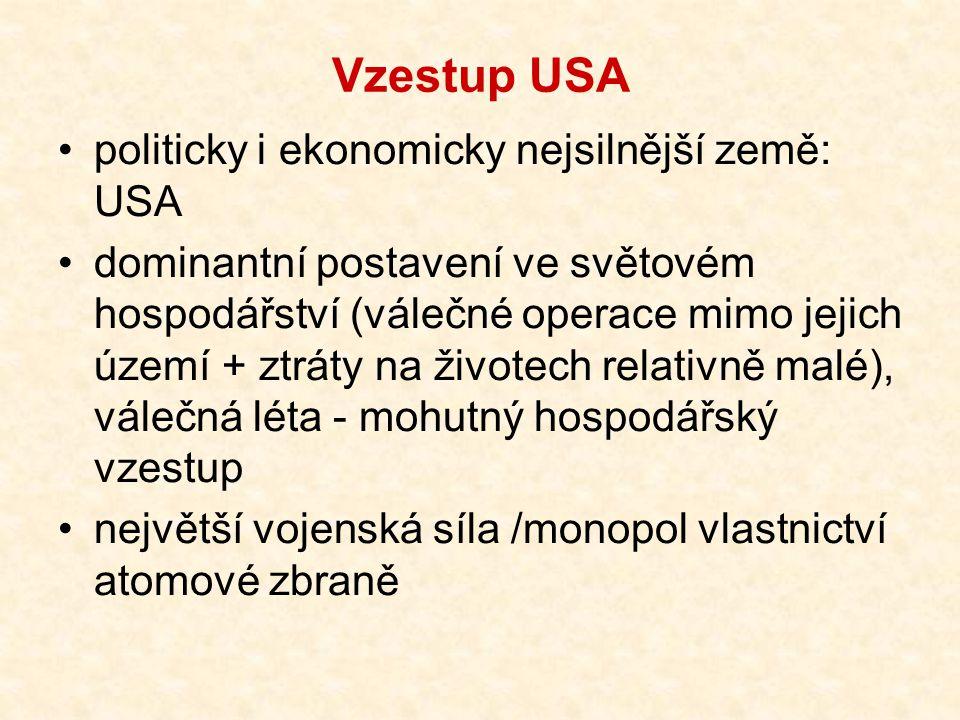 Vzestup USA politicky i ekonomicky nejsilnější země: USA dominantní postavení ve světovém hospodářství (válečné operace mimo jejich území + ztráty na