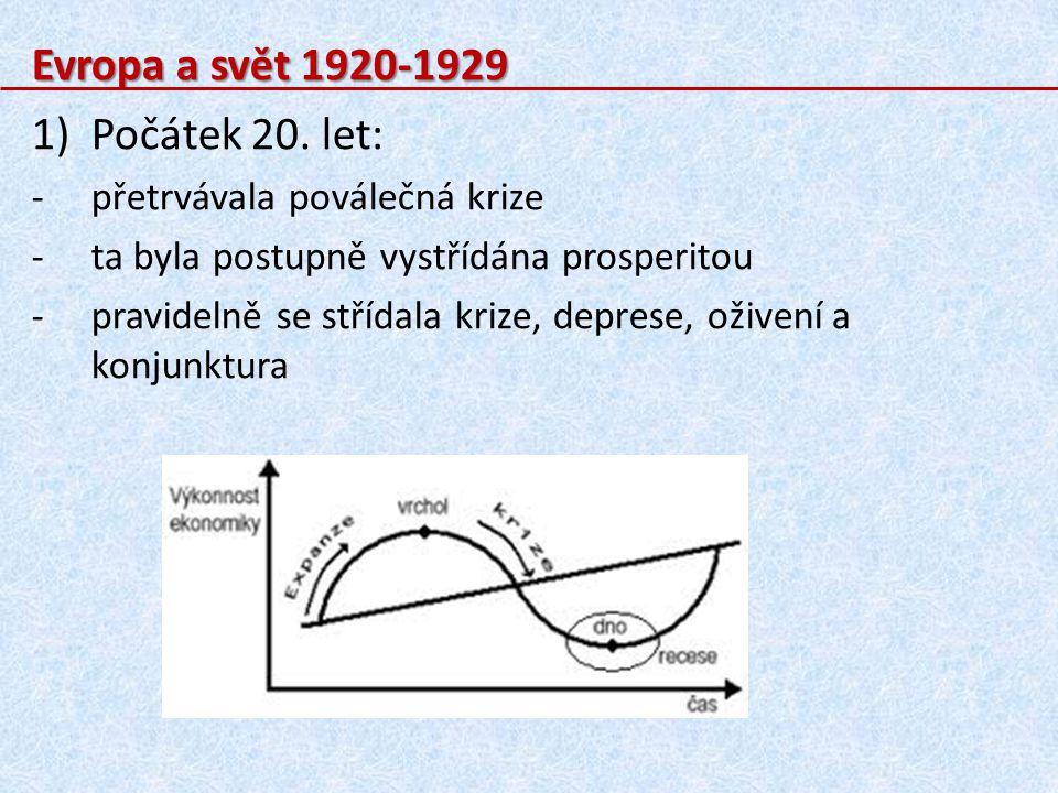 Evropa a svět 1920-1929 1)Počátek 20. let: -p-přetrvávala poválečná krize -t-ta byla postupně vystřídána prosperitou -p-pravidelně se střídala krize,