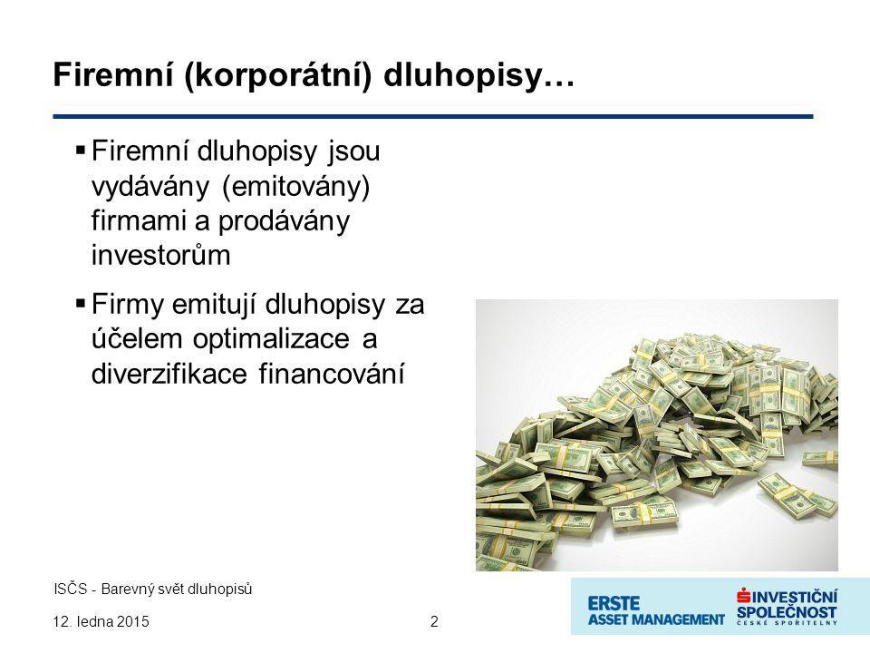 3 ISČS - Barevný svět dluhopisů 12.ledna 2015 Kdo kupuje tyto dluhopisy.