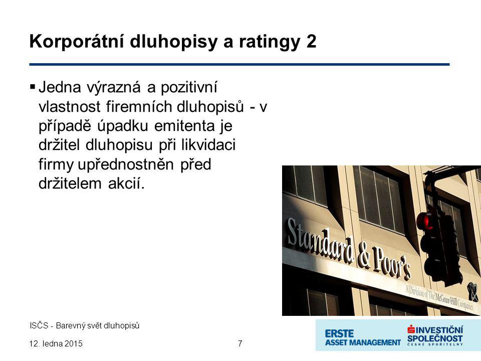 Rating a výnos  Firemní dluhopisy investičního stupně Kvalitní firmy v dobré finanční kondici Stabilní peněžní toky na úrovni firmy V průměru vyšší výnos než státní dluhopisy Výnosy nejlepších firem mohou mít nižší výnos jak státní Každé ratingové hodnocení představuje odpovídající výnos 8 ISČS - Barevný svět dluhopisů 12.