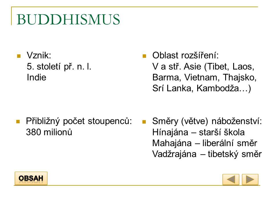 BUDDHISMUS Vznik: 5. století př. n. l. Indie Oblast rozšíření: V a stř. Asie (Tibet, Laos, Barma, Vietnam, Thajsko, Srí Lanka, Kambodža…) Přibližný po