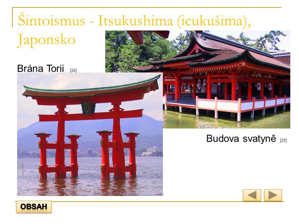 Šintoismus - Itsukushima (icukušima), Japonsko Brána Torii [24] Budova svatyně [25]