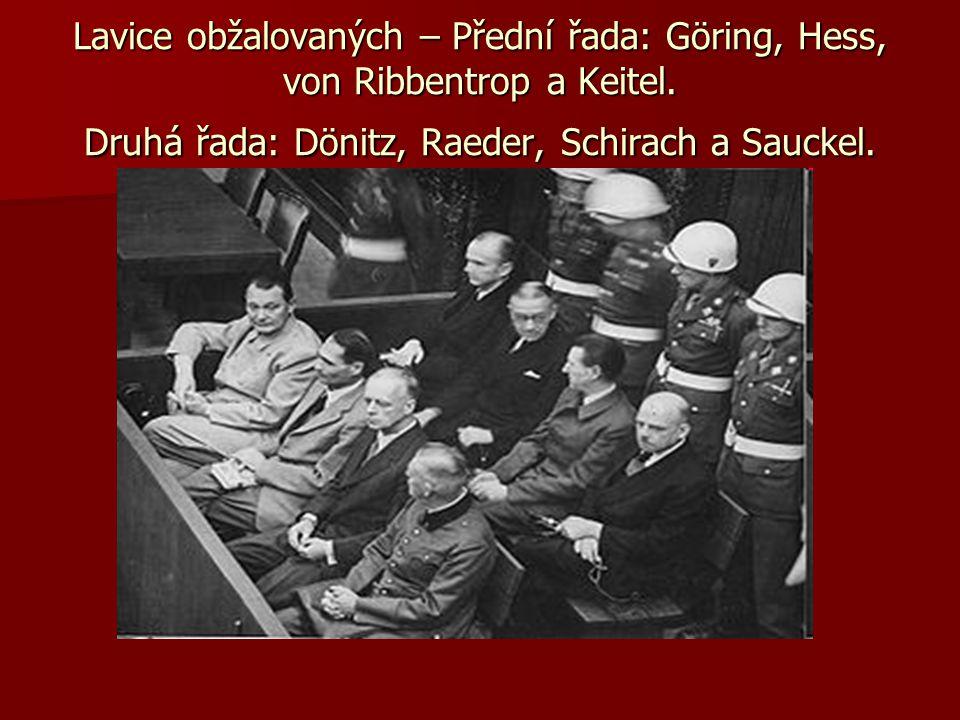 Lavice obžalovaných – Přední řada: Göring, Hess, von Ribbentrop a Keitel. Druhá řada: Dönitz, Raeder, Schirach a Sauckel.