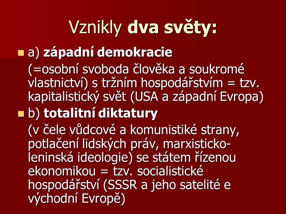 Vznikly dva světy: a) západní demokracie a) západní demokracie (=osobní svoboda člověka a soukromé vlastnictví) s tržním hospodářstvím = tzv. kapitali