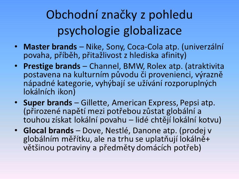 Obchodní značky z pohledu psychologie globalizace Master brands – Nike, Sony, Coca-Cola atp. (univerzální povaha, příběh, přitažlivost z hlediska afin
