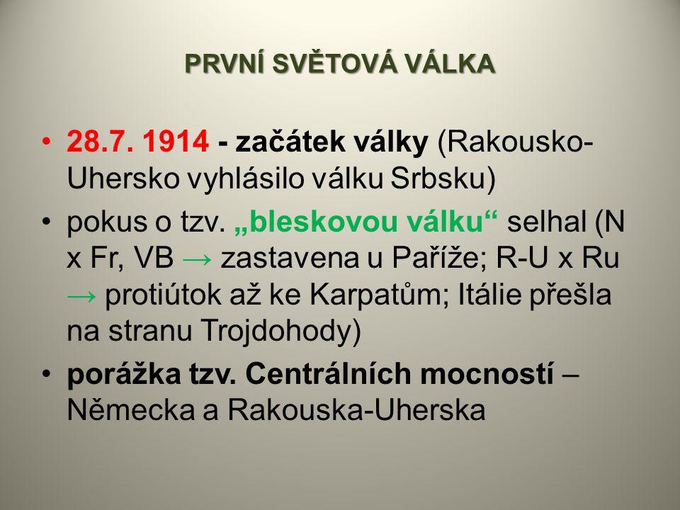 """PRVNÍ SVĚTOVÁ VÁLKA 28.7. 1914 - začátek války (Rakousko- Uhersko vyhlásilo válku Srbsku) pokus o tzv. """"bleskovou válku"""" selhal (N x Fr, VB → zastaven"""