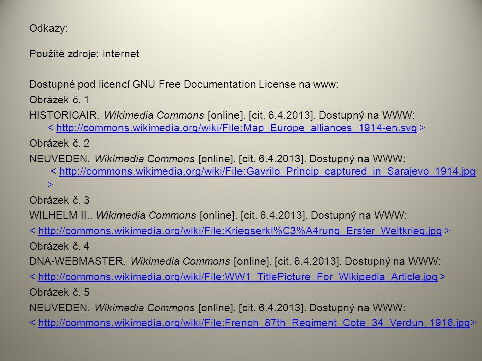 Odkazy: Použité zdroje: internet Dostupné pod licencí GNU Free Documentation License na www: Obrázek č. 1 HISTORICAIR. Wikimedia Commons [online]. [ci