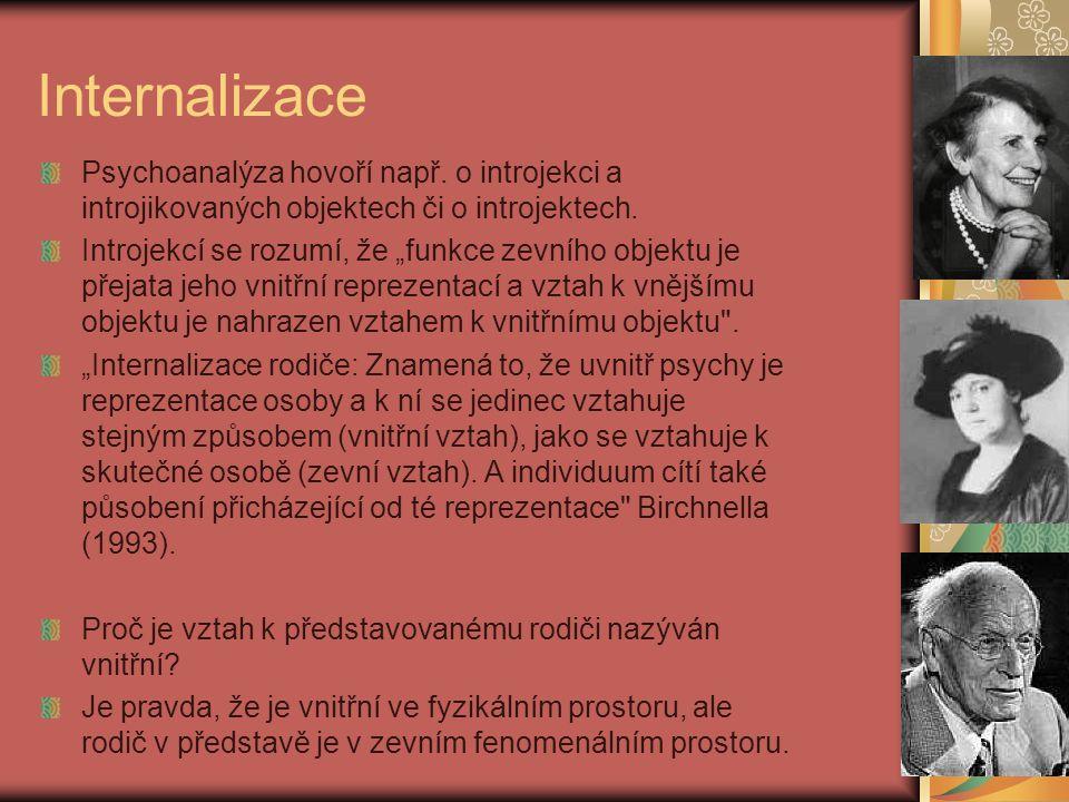 Internalizace Psychoanalýza hovoří např.
