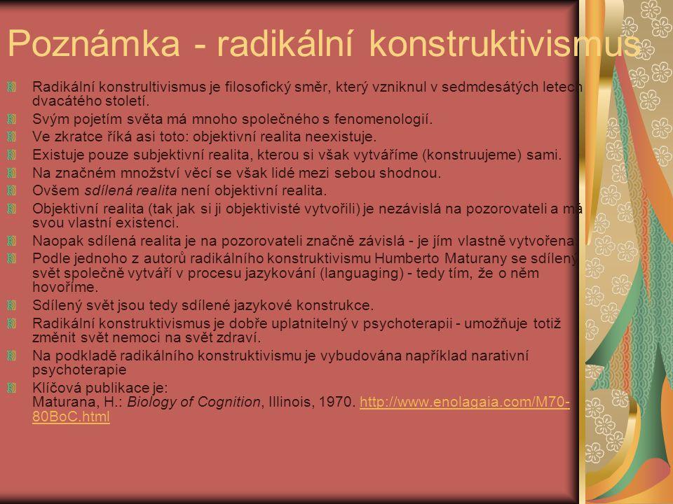 Poznámka - radikální konstruktivismus Radikální konstrultivismus je filosofický směr, který vzniknul v sedmdesátých letech dvacátého století.