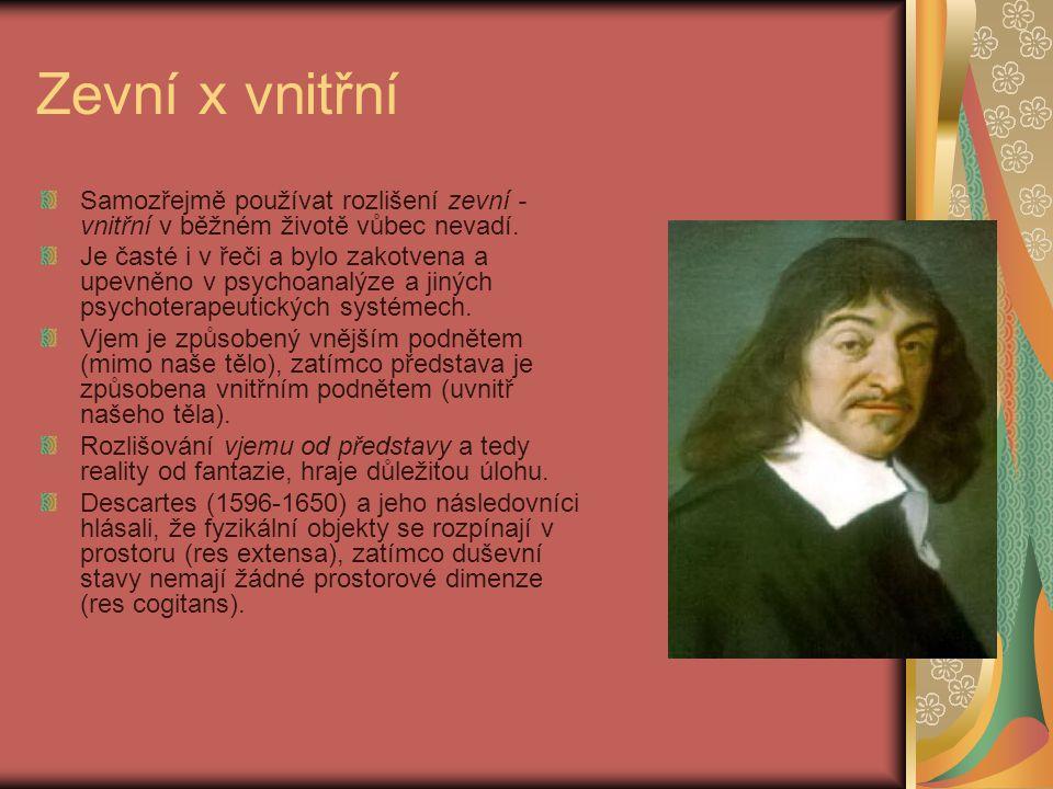 Zevní x vnitřní Samozřejmě používat rozlišení zevní - vnitřní v běžném životě vůbec nevadí.