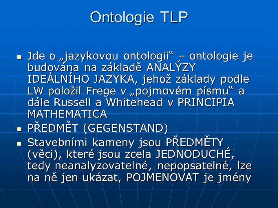 """Ontologie TLP Jde o """"jazykovou ontologii"""" – ontologie je budována na základě ANALÝZY IDEÁLNÍHO JAZYKA, jehož základy podle LW položil Frege v """"pojmové"""