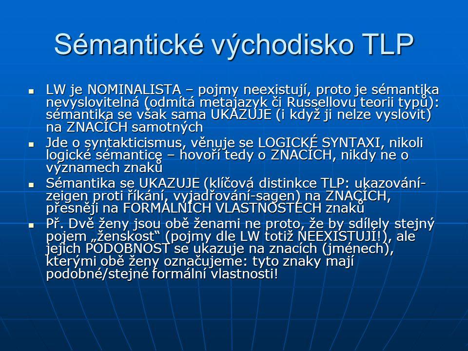 Sémantické východisko TLP LW je NOMINALISTA – pojmy neexistují, proto je sémantika nevyslovitelná (odmítá metajazyk či Russellovu teorii typů): sémant
