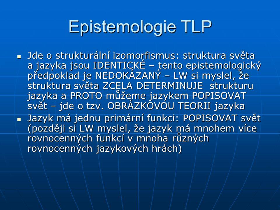 Epistemologie TLP Jde o strukturální izomorfismus: struktura světa a jazyka jsou IDENTICKÉ – tento epistemologický předpoklad je NEDOKÁZANÝ – LW si my