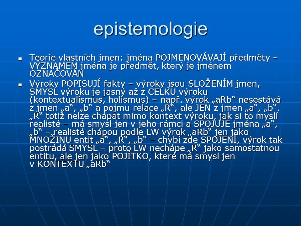 epistemologie Teorie vlastních jmen: jména POJMENOVÁVAJÍ předměty – VÝZNAMEM jména je předmět, který je jménem OZNAČOVÁN Teorie vlastních jmen: jména