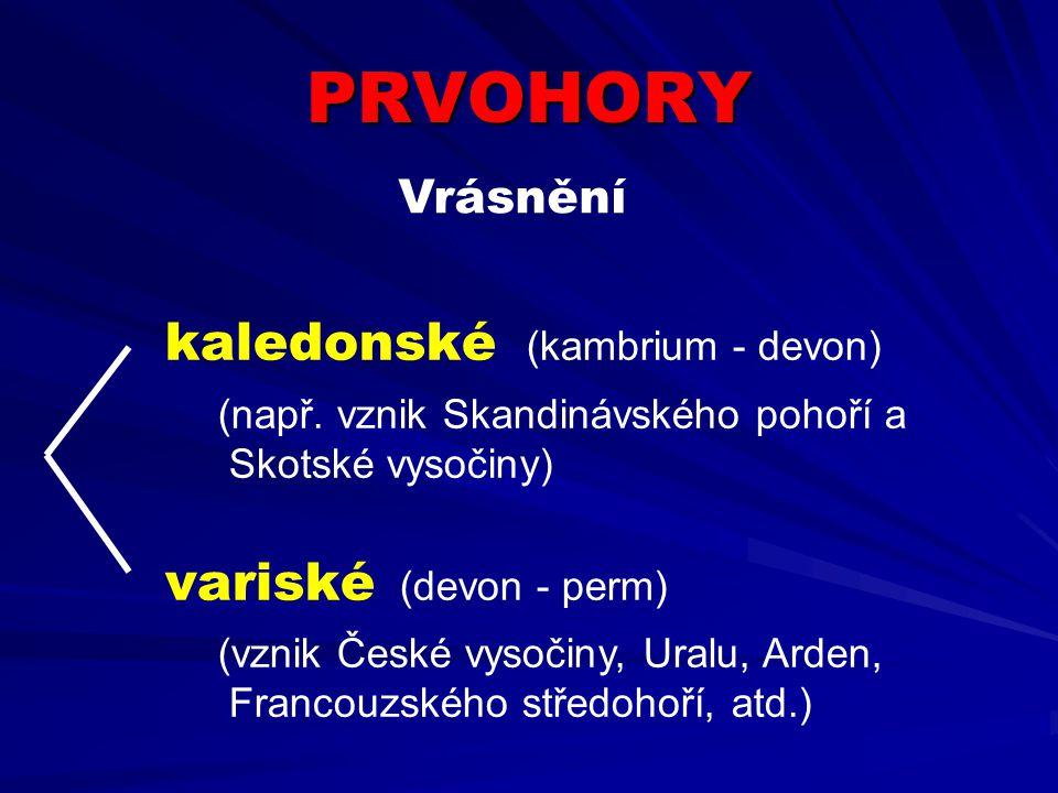 PRVOHORY kaledonské (kambrium - devon) (např. vznik Skandinávského pohoří a Skotské vysočiny) variské (devon - perm) (vznik České vysočiny, Uralu, Ard