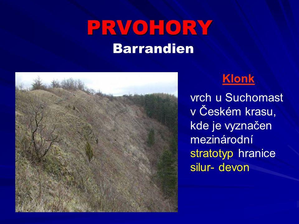 PRVOHORY Klonk vrch u Suchomast v Českém krasu, kde je vyznačen mezinárodní stratotyp hranice silur- devon