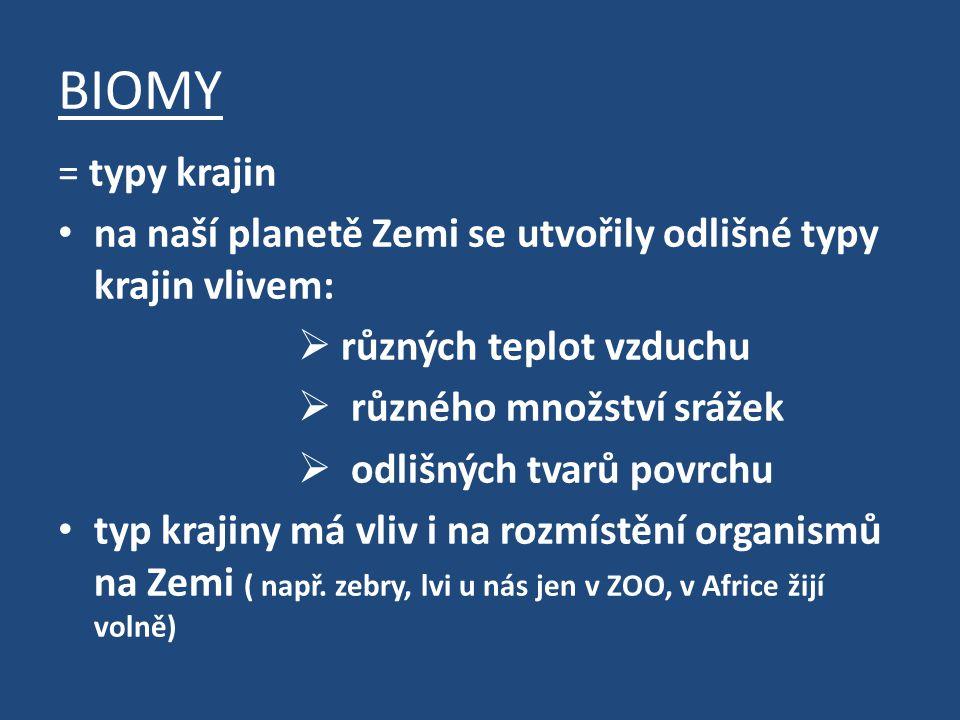 BIOMY = typy krajin na naší planetě Zemi se utvořily odlišné typy krajin vlivem:  různých teplot vzduchu  různého množství srážek  odlišných tvarů povrchu typ krajiny má vliv i na rozmístění organismů na Zemi ( např.