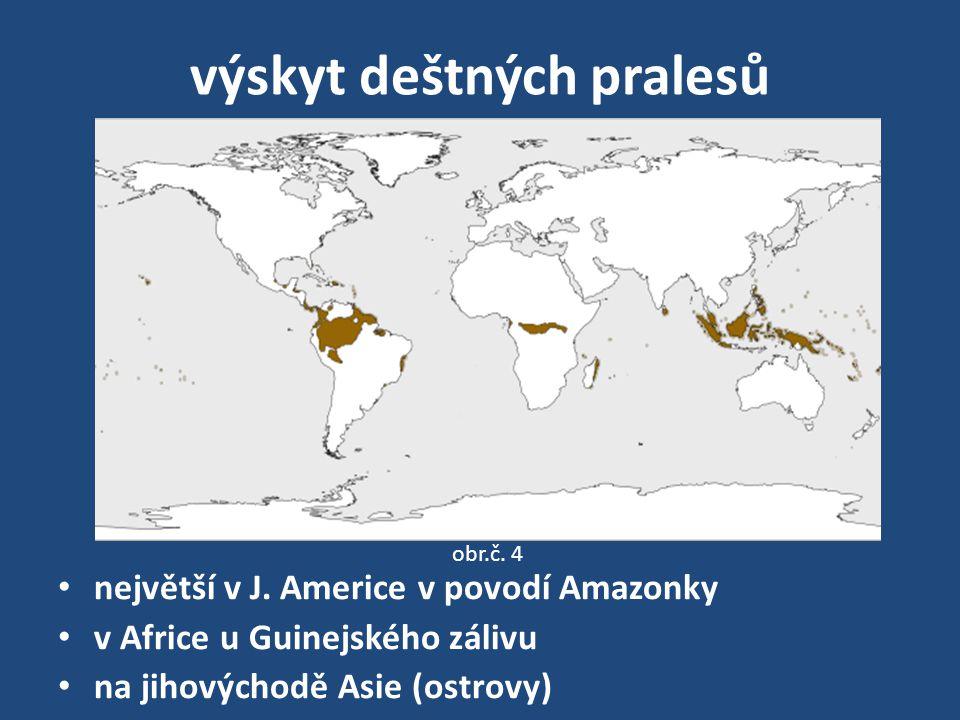 výskyt deštných pralesů největší v J.