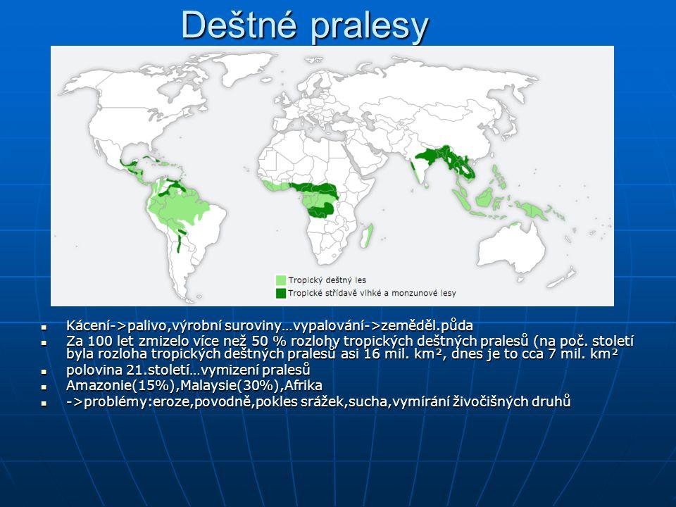 Deštné pralesy Kácení->palivo,výrobní suroviny…vypalování->zeměděl.půda Kácení->palivo,výrobní suroviny…vypalování->zeměděl.půda Za 100 let zmizelo více než 50 % rozlohy tropických deštných pralesů (na poč.